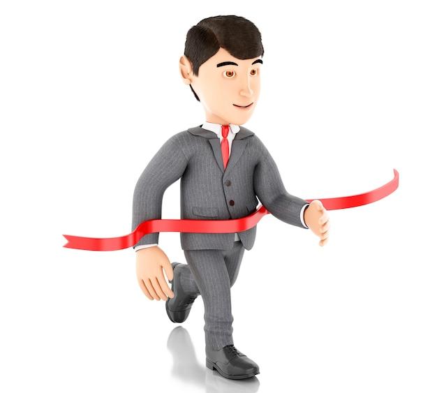 Uomo d'affari 3d che attraversa il traguardo. concetto di successo