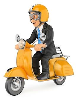 Uomo d'affari 3d che va a lavorare in moto scooter