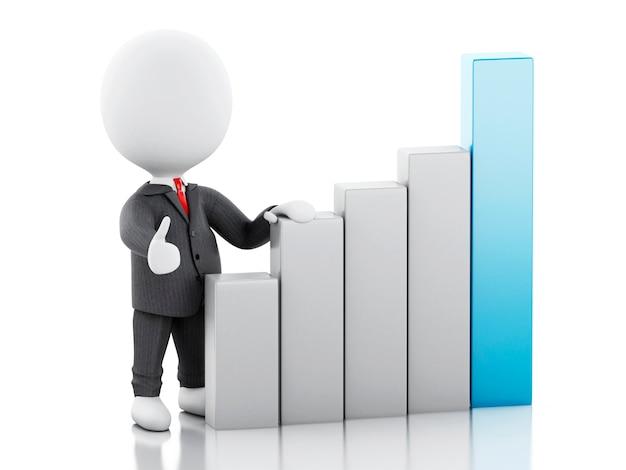 Uomo d'affari 3d con il grafico di statistica. concetto di successo