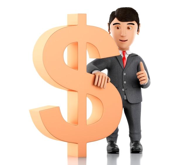 Uomo d'affari 3d con un segno di dollaro. concetto di business