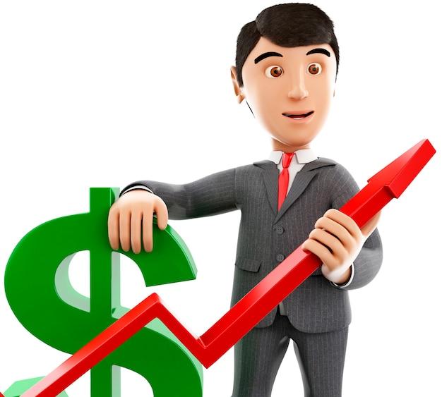 Uomo d'affari 3d con un segno di dollaro e un grafico di crescita.