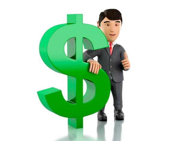 Uomo d'affari 3d con un segno di dollaro.