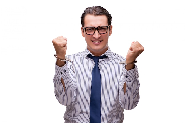 Uomo d'affari ammanettato isolato su bianco