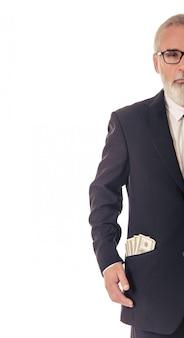 Uomo d'affari barbuto bello con soldi.