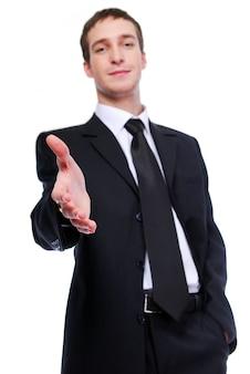 Uomo d'affari che dà la stretta di mano