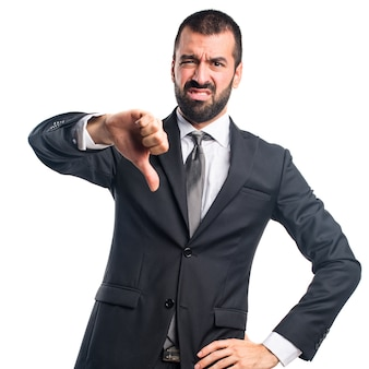Uomo d'affari che fa il segnale difettoso