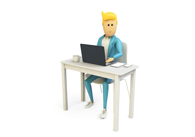 Uomo d'affari che lavora con i dispositivi