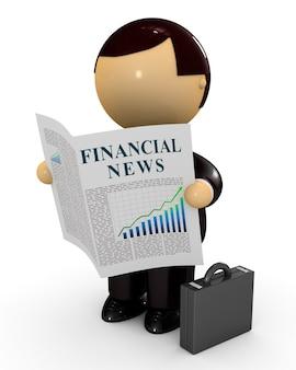 Uomo d'affari che legge notizie finanziarie