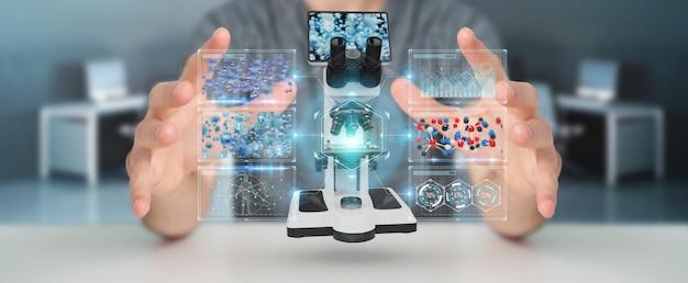 Uomo d'affari che per mezzo del microscopio moderno con la rappresentazione di analisi digitale 3d