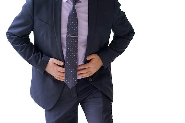 Uomo d'affari che soffrono di dolore addominale