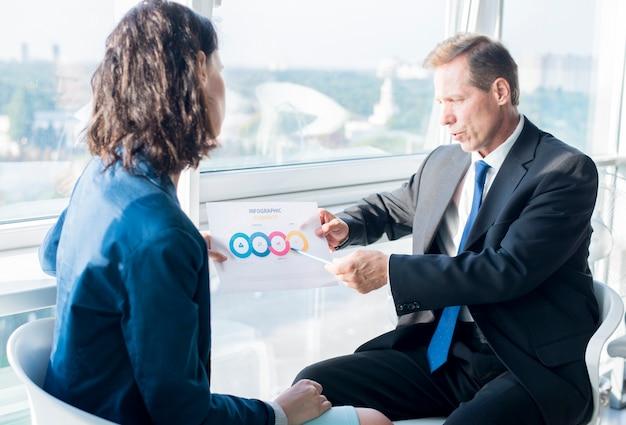 Uomo d'affari che spiega lo strato infographic degli elementi al suo collega femminile
