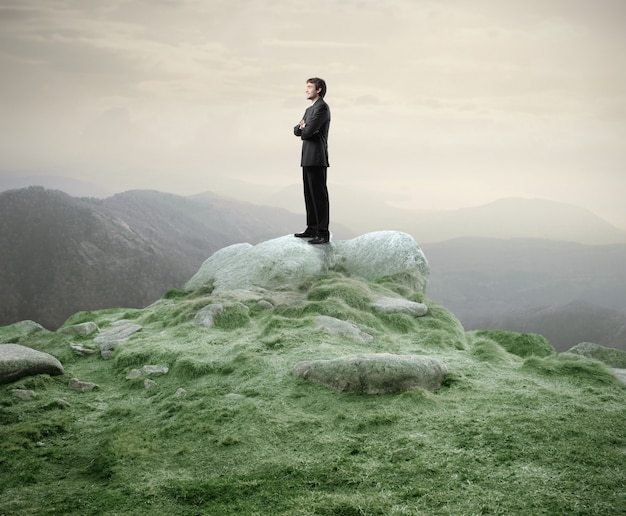 Uomo d'affari che sta sulla cima di una collina