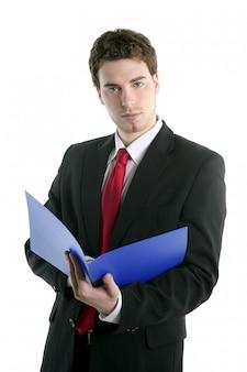 Uomo d'affari che tiene cartella aperta blu