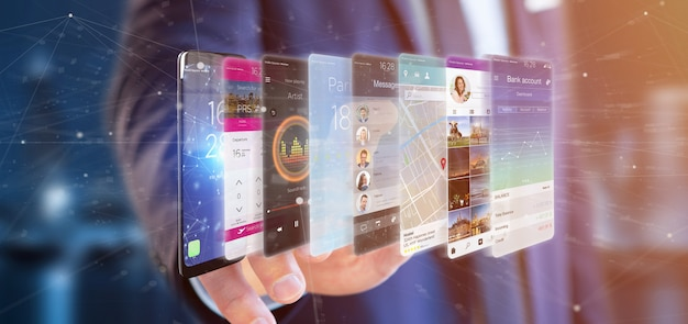 Uomo d'affari che tiene il modello di app della rappresentazione 3d su uno smartphone