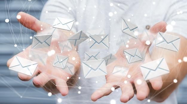 Uomo d'affari che tiene l'icona del email di volo della rappresentazione 3d in sua mano