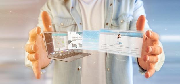 Uomo d'affari che tiene un'applicazione del sito web che esce una rappresentazione dello schermo 3d del computer portatile