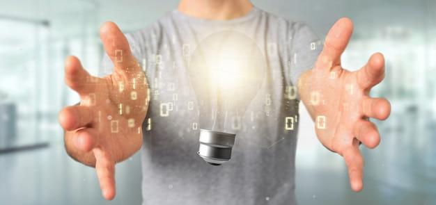 Uomo d'affari che tiene un concetto di idea della lampada di lampadina con dati tutt'intorno rappresentazione 3d