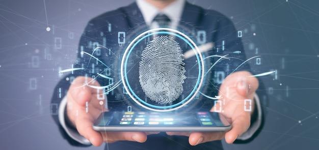 Uomo d'affari che tiene un'identificazione digitale dell'impronta digitale e una rappresentazione di codice binario 3d