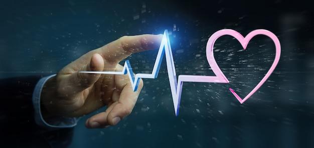 Uomo d'affari che tiene una curva medica del cuore della rappresentazione 3d