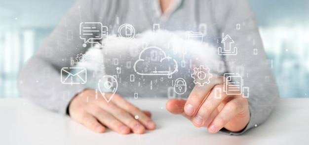 Uomo d'affari che tiene una nuvola della rappresentazione dell'icona 3d di multimedia