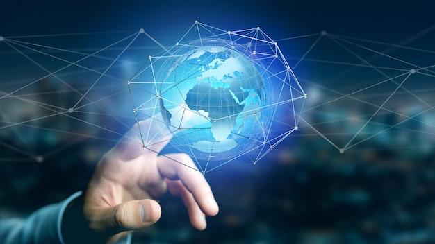 Uomo d'affari che tiene una rete connessa sopra un concetto del globo della terra sull'interfaccia futuristica - rappresentazione 3d