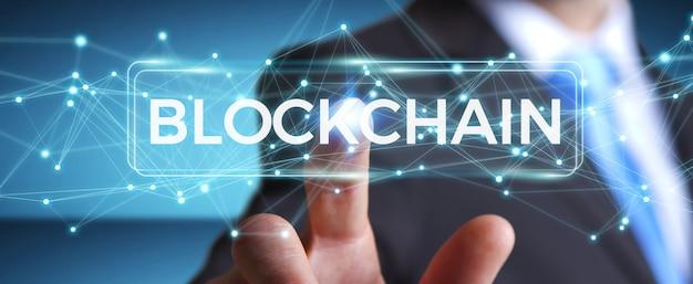 Uomo d'affari che usando la rappresentazione dell'interfaccia 3d di criptovaluta blockchain