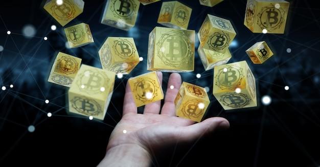 Uomo d'affari che usando la rappresentazione di criptovaluta 3d dei bitcoins