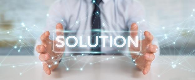 Uomo d'affari che usando la rappresentazione digitale del testo 3d della soluzione