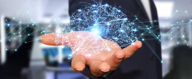 Uomo d'affari che usando la rappresentazione digitale dell'interfaccia 3d del cervello umano dei raggi x