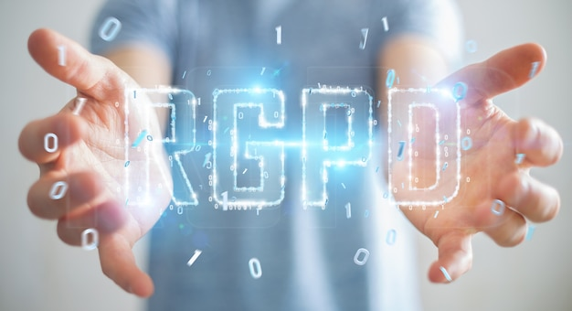 Uomo d'affari che usando la rappresentazione digitale dell'interfaccia 3d di gdpr