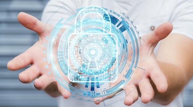 Uomo d'affari che utilizza lucchetto digitale per assicurare i suoi dati rappresentazione 3d