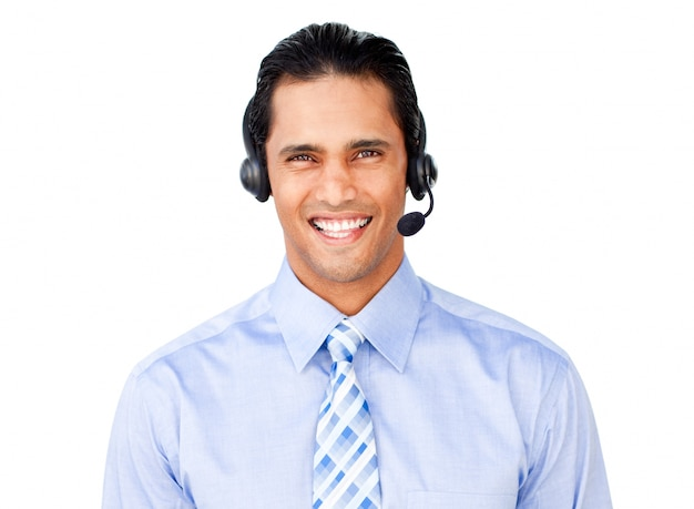 Uomo d'affari con auricolare