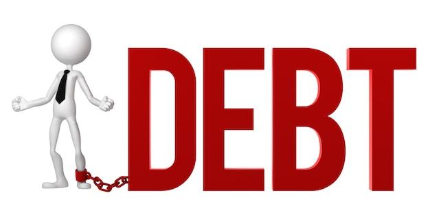 Uomo d'affari con un piede incatenato a un segno di debito.