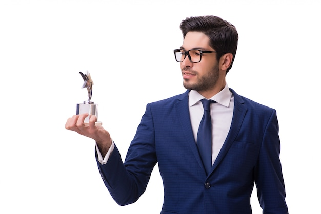 Uomo d'affari dei pantaloni a vita bassa che riceve premio isolato