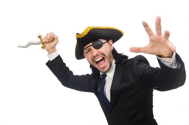 Uomo d'affari del pirata con la sciabola isolata su bianco