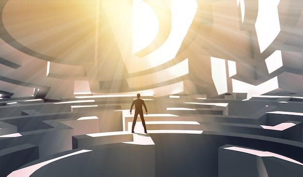 Uomo d'affari della rappresentazione 3d che si leva in piedi sopra un labirinto