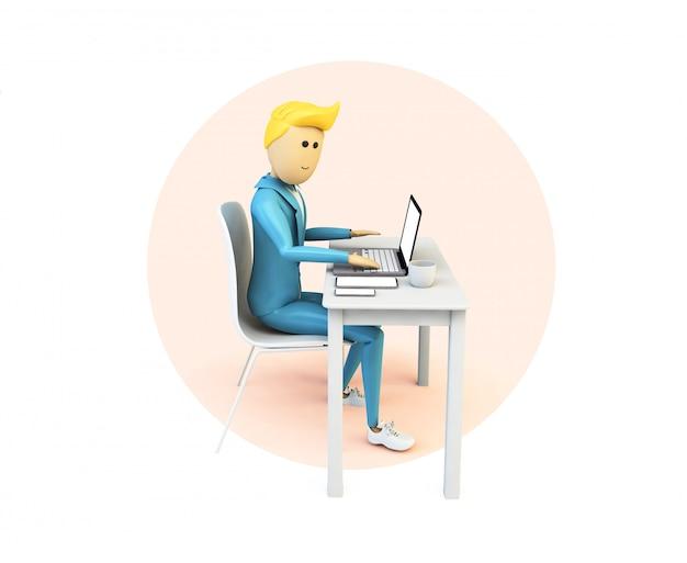 Uomo d'affari di cartone animato in area di lavoro