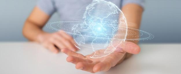 Uomo d'affari facendo uso dell'ologramma della rete del globo con la mappa dell'america sua