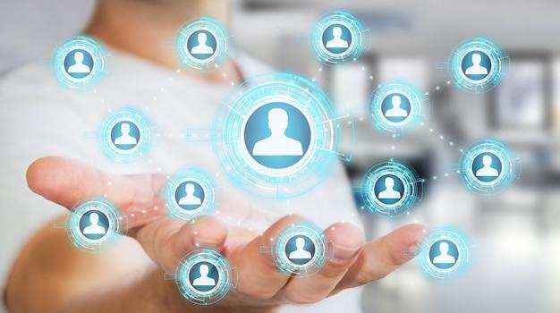 Uomo d'affari facendo uso della rappresentazione blu della rete sociale 3d