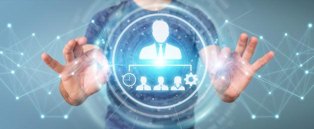 Uomo d'affari facendo uso della rappresentazione del grafico 3d di direzione di affari