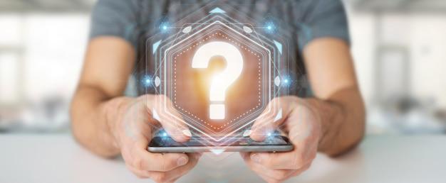 Uomo d'affari facendo uso della rappresentazione dell'interfaccia digitale 3d dei punti interrogativi