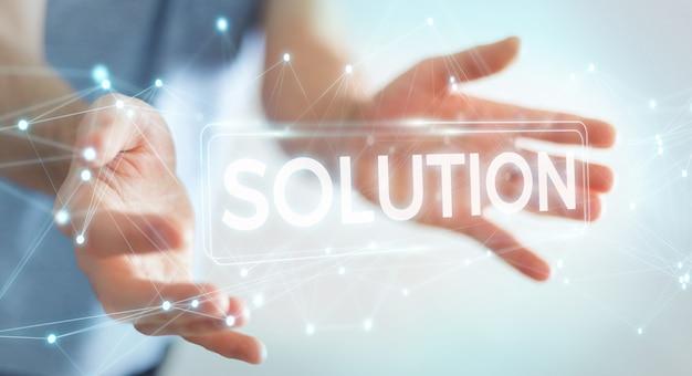 Uomo d'affari facendo uso della rappresentazione digitale del testo 3d della soluzione
