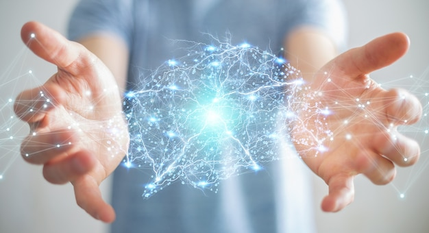 Uomo d'affari facendo uso della rappresentazione digitale dell'interfaccia 3d del cervello umano dei raggi x