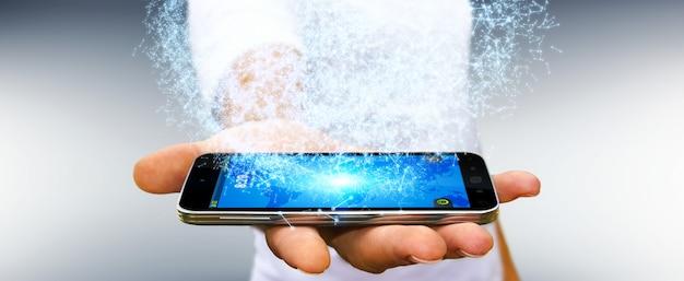 Uomo d'affari facendo uso della sfera della rete di dati della rappresentazione 3d con il suo telefono cellulare