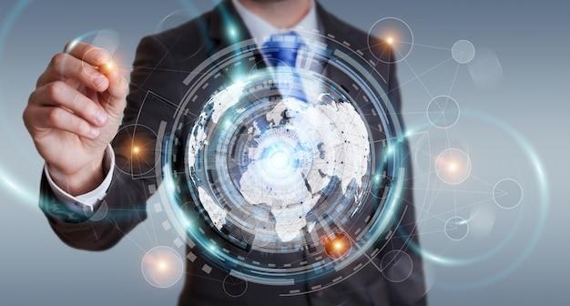 Uomo d'affari facendo uso dello schermo dell'ologramma con i dati digitali