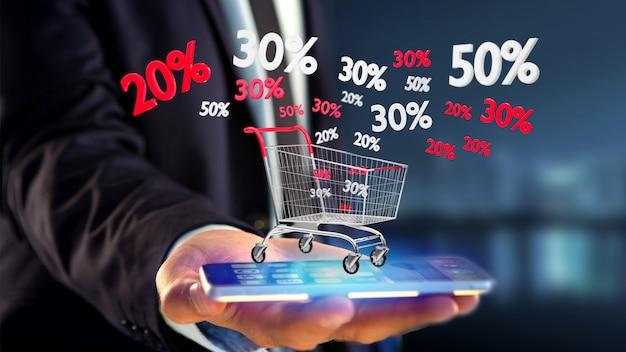 Uomo d'affari facendo uso di uno smartphone con un carrello rosso e bianco e uno sconto di vendite - 3d rendono