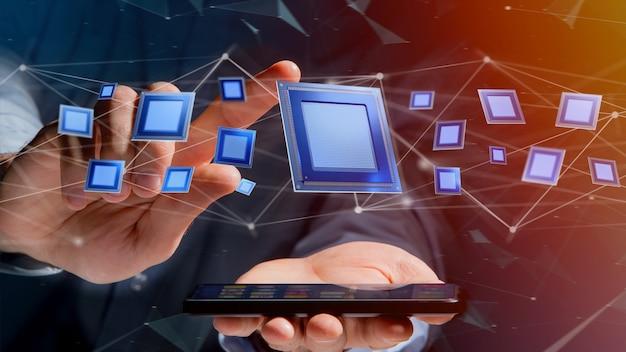 Uomo d'affari facendo uso di uno smartphone con un chip di unità di elaborazione e una connessione di rete - 3d rendono
