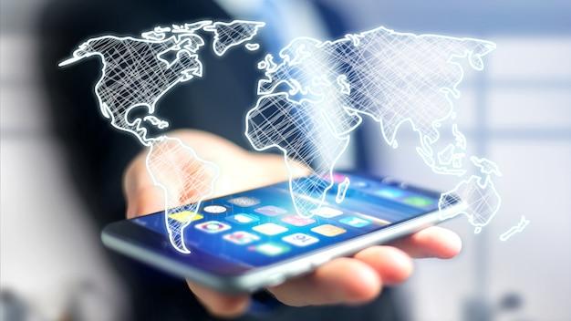 Uomo d'affari facendo uso di uno smartphone con un'interfaccia onfuturistica della mappa di mondo disegnata a mano