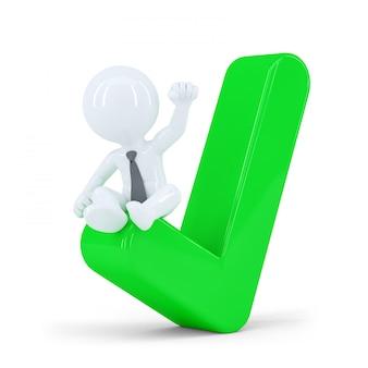 Uomo d'affari felice in cima al segno di spunta verde. concetto di affari