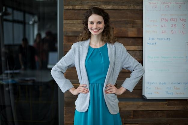 Uomo d'affari femminile sorridente che sta con la mano sull'anca in ufficio
